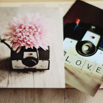 Vintage camera Postcard set- flower, pink, floral, whimsical, photo card, pink, fine art cards, card set, scrabble letters, love, mum