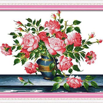 Flower Rich Rose Cotton Canvas DMC Cross Stitch Kits Art Crafts Accurate Printed Embroidery DIY Handmade Needle Work Home Decor