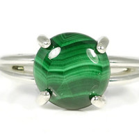 Malachite Ring, Solitaire Ring, Statement Ring, Sterling Silver, Healing Stone