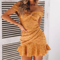 Summer new style sexy ruffled pleated lace dress