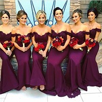 Off the Shoulder vestido madrinha Long Purple bridesmaid dress 2017 Mermaid Bridesmaid Dresses