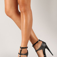 Qupid Holly-07 Snake T-Strap Stiletto Heel