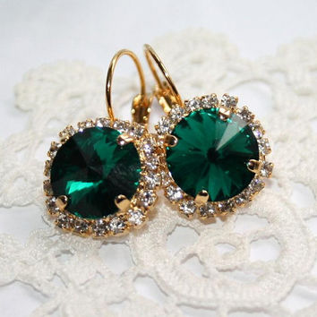 Emerald Rhinestone leverback Swarovski Earrings, Cluster sparkling Gold Green Statement Earrings, Vintage Style Crystal Luxury Jewelry
