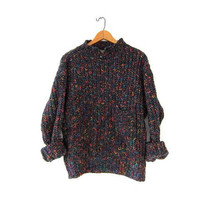 Vintage 80s black sweater. Chunky loose knit sweater. Henley pullover. Colorful speckled sweater.