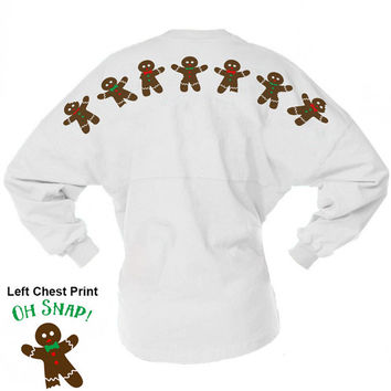 Game Day Jersey - Oh Snap Gingerbread Men - Christmas Shirt Skyline Pom Pom Billboard Group