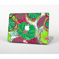 The Bright Pink and Green Flowers Skin Set for the Apple MacBook Air 11""