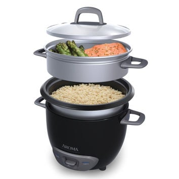 Black (Cooked)  (3-Cup UNCOOKED) Pot Style Rice Cooker and Food Steamer, Red