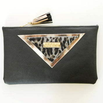 SARA 3 / Black leather & leopard calf hair leather clutch bag / make up bag - Ready to Ship