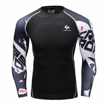 Mens Compression Shirts Bodybuilding Skin Tight Long Sleeves Jerseys Clothing MMA Cross-fit Exercise FREE SHIPPING!