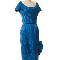 1950s Blue Silk Floral Damask Cocktail Dress