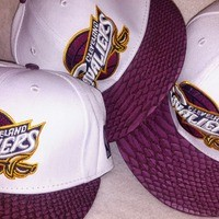 Cleveland Cavaliers Wine crocodile skin logo strIapback hat cap don c from Kno Idea Vintage & Custom