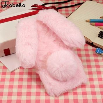 AKABEILA Fluffy Rabbit Fur Cases For Apple iPhone X iPhone 10 iPhone Ten Phone Cover Back Fashion Bling Diamond Back