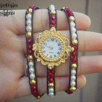 Valentines Day Red and Gold Wrap Watch Black Leather Pearl Beads