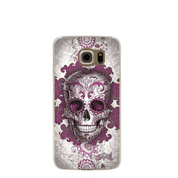 Sugar Skull  dark pink Flowers cell phone case cover for Samsung Galaxy S7 edge PLUS S6 S5 S4 S3 MINI