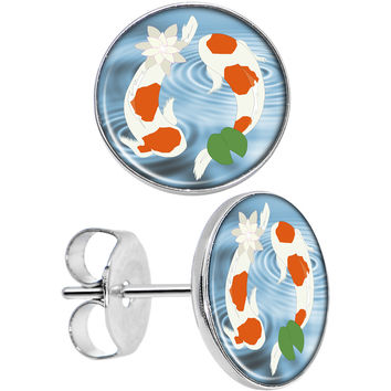 Stainless Steel Post Yin Yang Don't Be Koi Round Stud Earrings