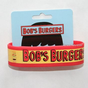 Licensed cool Bobs Burgers logo Belcher Family Restaurant Rubber Bracelet Wristband Red/Yellow