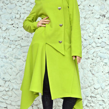 ON SALE 25% OFF Light Green Asymmetrical Coat / Extravagant Light Green Cashmere Coat / Funky Hooded Coat / Asymmetrical Hooded Coat Tc72