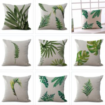 Leaf Printing Pillow Cases