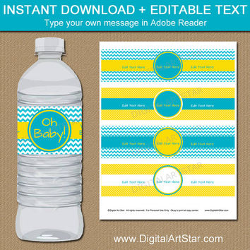 Baby Shower Decorations - Yellow Turqouise Chevron Water Bottle Wrappers - Printable Baby Shower Favors - Baby Sprinkle Water Bottle Labels