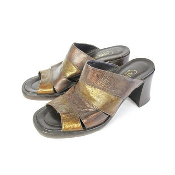 2ec99cba92a2 90s Leather Mules Chunky Heel Sandals Slip On Clogs Bronze Brown Leather  Sandals Backless Shoes Cut