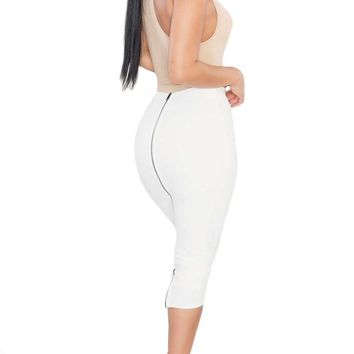 CASSIDY ZIPPER BACK MIDI SKIRT - OFF WHITE