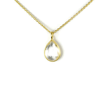 Gold Plated Sterling Silver Clear Quartz Petite Pear Teardrop Faceted Necklace