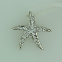 Starfish Pendant made with Cubic Zirconia and 925 Sterling Silver CZ Star Beach/Nautical/Sea Theme
