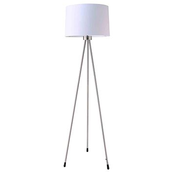 Metal Tripod Floor Lamp With White Fabric Shade  Silver