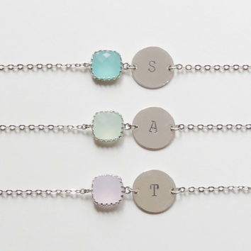 Birthstone & Initial Bracelet | Personalized Bracelet | Initial Bracelet | Birthstone Bracelets | Bridesmaids Bracelet| Choose color initial