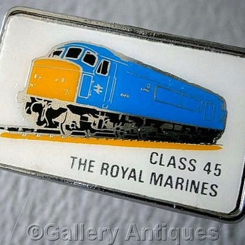 Vintage retro Class 45 The Royal Marines Chrome and Enamel diesel train railway Pin / Lapel Badge by Clubman c.1980's (ref: 3206)