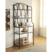 Elegant Black Metal Bakers Rack Kitchen Storage Unit with Glass Shelves