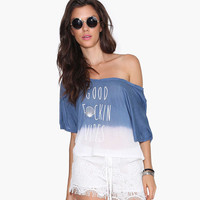 Blue Good Vibes Letter Print Loose Shirt