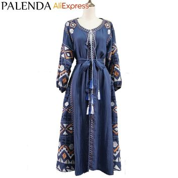 new bohemian embroidery kaftan dress women cotton handmade bandage belt on waist lantern sleeve wide fit loose