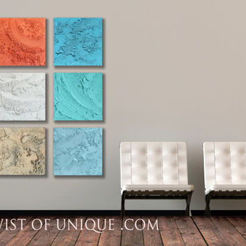 AcryliCrete Painting / 6 panel ORIGINAL (15 Inches x 15 Inches) / Modern Concrete Art/ Tropical colors /Orange, White, Aqua, Blue, white