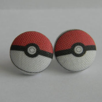 Pokemon Pokeball Inspired Fabric Button Earrings