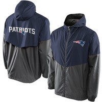 Mens New England Patriots Pro Line Navy Color Block Vent Shell Jacket