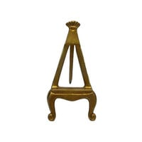 Brass Easel Small Vintage Art Photo Card Display Wedding Tabletop Mantle Bookcase Decor Aged Gold Patina Cabriole Leg Stand