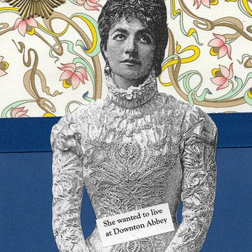 Blue Downton Abbey Themed Card - Victorian Style Collage Art  - She Wants to Change Her Address