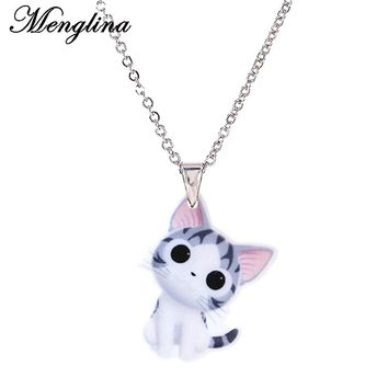 Menglina Fashion Acrylic Lovely Cat Pendant Necklace For Little Girl Silver Tone Chain Cute Pet Animal Flat Back Resin Pendentif
