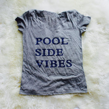 Pool side vibes t shirt. Sparkly blue writing