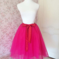 Women Fuchsia Pink Midi Skirt Women Tulle Tea Length Skirt Adult Tutus Hot Pink Skirt Plus Size Princess skirt bridesmaid skirt Hot(T1815)