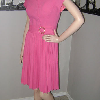 Vintage 1950's PINK Dress Mad Men RHINESTONE Lucite Buckle Pleated Skirt Doris Day Dress Betty Draper