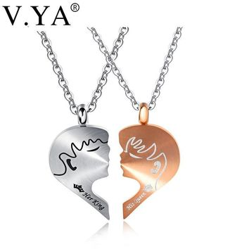 Cool V.Ya Romantic Couple Necklaces Her King His Queen Crown Figure Personalized Stainless Steel Pendant Necklace Lover Jewelry GiftsAT_93_12