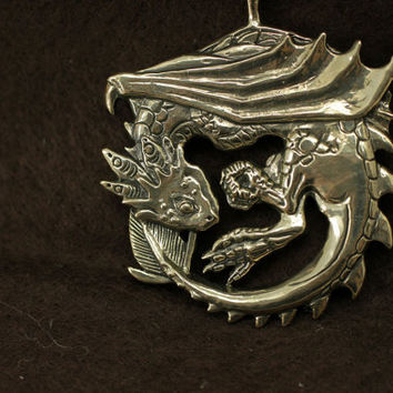 Wyvern dragon bronze pendant necklace