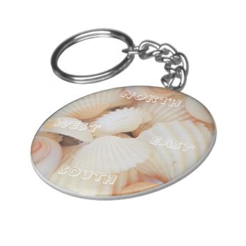 North East South West Compass Sea Shells Exotic Basic Round Button Keychain