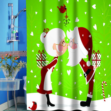 """Christmas Fabric Shower Curtain (70"""" x 72"""") with Matching Bath Rug Santa and Mrs. Claus Kissing"""