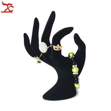ONETOW Lady OK Shaped Hand Jewelry Display Stand Black Velvet Hand Model Ring Bracelet Bangle Necklace Hanging Organizer Stand 11*17cm