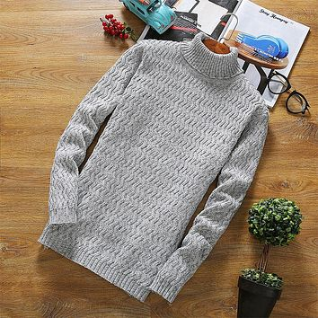 Mens Pullover 2017 Sweaters Sweater Man Long Knitting Men Half Turtleneck Nightdress For Jumper Striped Cheap Wool m29