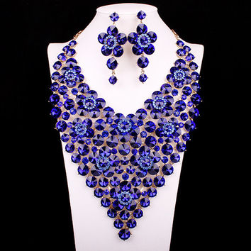 Fashion design bridal party crystal gold filled women jewelry set prom  accessories super big flower collar necklace earring set