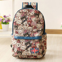 Cute Bear Canvas Backpack The Union Flag College Bag